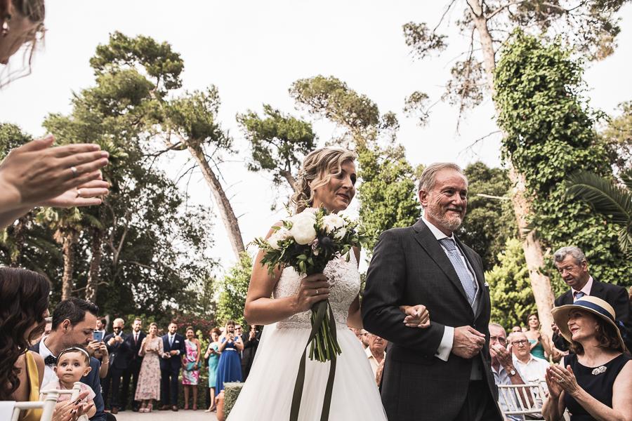llegada novia con su padre